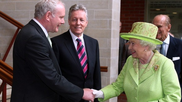 Her Majesty shakes hands with Northern Ireland Deputy First Minister Martin McGuinness in Belfast.