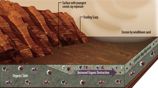 This illustration portrays some of the reasons why finding organic chemicals on Mars is challenging.