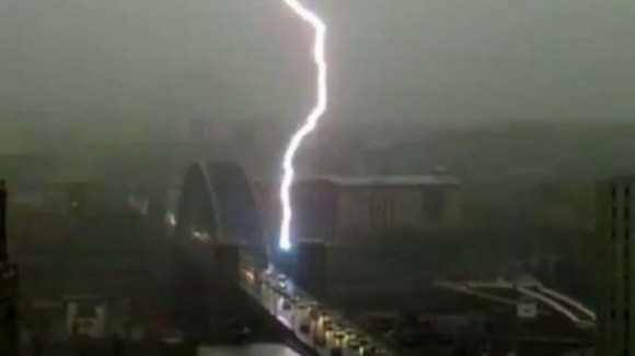 Lightning strikes the Tyne Bridge in Newcastle.