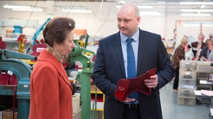 HRH The Princess Royal meeting Dean Clarke, co-owner and founder of Zatchels
