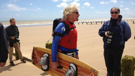 Richard Branson at Hythe beach before he set off on his bid to kite-surf the English Channel