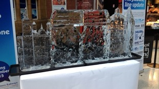 Giant ice sculpture celebrating Christmas