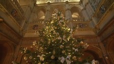 Christmas tree on the set of Downton Abbey
