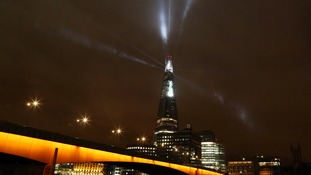 Search lights, giant LEDs, strobe lights and ten big smoke machines make up Europe's highest art installation