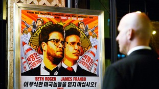 A poster at the premiere of The Interview in Los Angeles.
