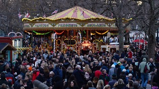 The heavy footfall - estimated to be up 7.1% in the early hours - meant busy crowds at the capital's Christmas markets, including the South Bank.
