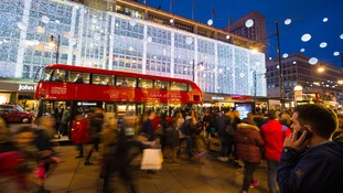 Oxford Street thronged with shoppers on the final weekend before Christmas.