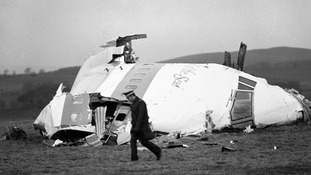 The wrecked nose section of the Pan-Am Boeing 747 l