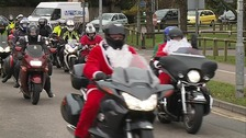 The bikers arrive at Addenbrooke's Hospital.