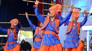 Members of the Asli Baharan Punjab Diyan dance group performing in Trafalgar Square last year.