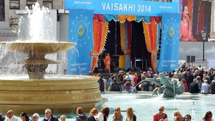 Last year: Members of the public at the Mayor of London Vaisakhi celebrations in Trafalgar Square, celebrating the holiest day in the Sikh calendar.