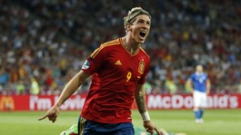 Spain striker Fernando Torres celebrates his goal.