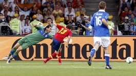 Spain attacker Juan Mata scores the fourth.