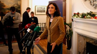 Northern Ireland Secretary Theresa Villiers speaking during a press conference at Stormont yesterday.
