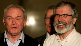 Martin McGuinness and Gerry Adams after the conclusion of the talks.
