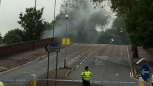 The police cordon at the Abbey Road bridge in Nottingham