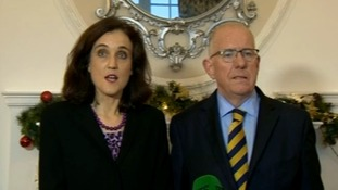 Theresa Villiers alongside Irish foreign minister Charlie Flanagan.