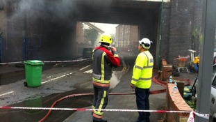 Structural engineers are assessing the damage to the underside of the road bridge