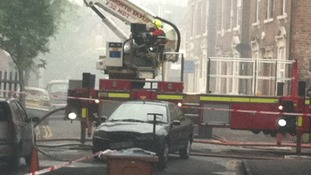 Aerial platforms have been used to tackle the fire in Lenton
