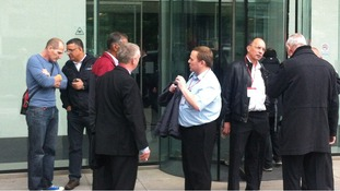 The scene outside the Acas headquarters this morning.