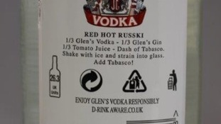Example of a fake bottle of alcohol seized in Leicestershire