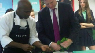 Gary Lee shows Nick Clegg how to cook