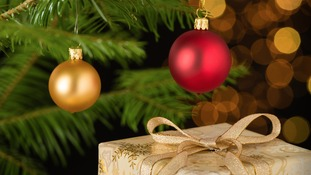 Christmas baubles and present