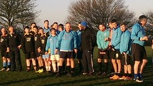 Players at today's Christmas Truce match commemoration in Sedgley