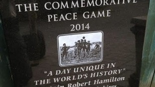 Picture of the plaque unveiled in Newark for Christmas Truce commemorations