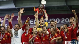 Spain lift the Euro 2012 trophy
