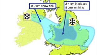 Areas at risk of seeing some snow on Boxing Day and Saturday.