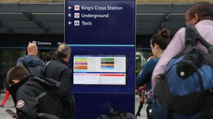The busy entrance to King's Cross station in central London.