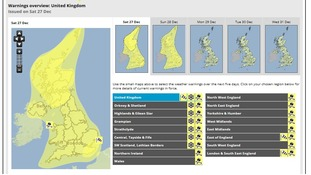 The map on the left shows the ice warning in place for the whole of the UK.