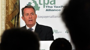 Former defence secretary Liam Fox makes a speech about the future direction of the European Union,
