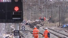 The West Coast Main Line being upgraded in 2008 when the metal and sleepers were stolen