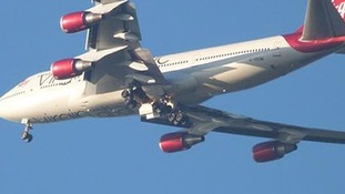A picture posted on Twitter showing the underside of the Virgin Atlantic flight.