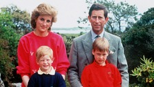 Diana, Princess of Wales, with her then-husband Prince Charles and sons Princes Harry and William.