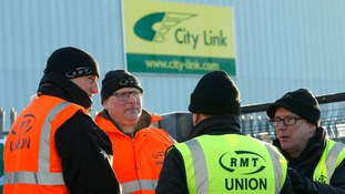 A picket line outside City Link in Motherwell, Lanarkshire earlier this month.