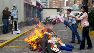 Traditionally at the end of the year Ecuadorians burn puppets to symbolize the end of the old and bad and the starting of the good and new