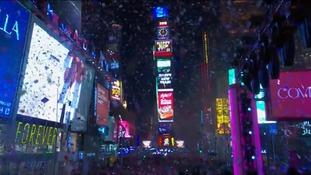 Confetti drops in Times Square