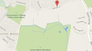 Map shows location of Gartons Lane.