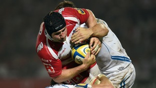 Ben Morgan is tackled during a game against Exeter Chiefs