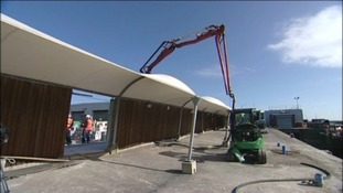 Repair work continues on Weymouth's harbour wall