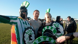 Birmingham City manager Gary Rowett meets Blyth Spartans fans ahead of the FA cup tie.