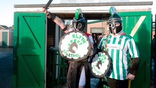 Blyth Spartans fans out to support team as they take on Birmingham at Croft Park.