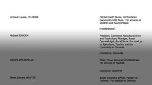 Deborah's name as it appears on the 2015 Honours List.