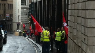 Union members outside the office.
