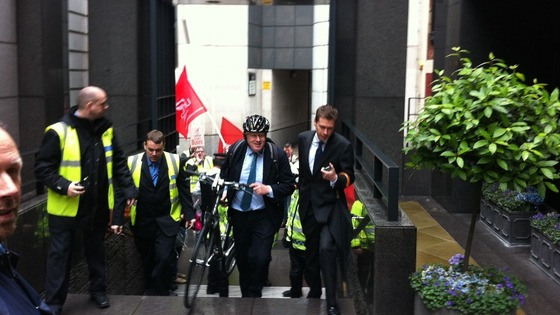The Mayor of London arrives at 65 Fleet Street.