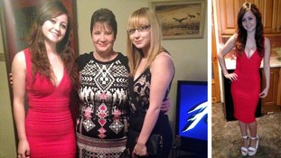Zoe Turner pictured with mum Sharon Turner and sister Jessica Turner in that red dress.