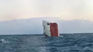 Sinking cargo ship